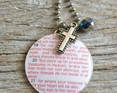 SALE - Matthew 6:19-21 - Do not store up for yourselves - Altered Vintage Glass Watch Crystal Pendant Necklace - Recycled Upcycled
