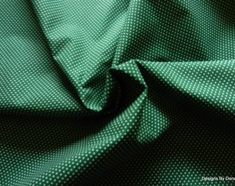 One Half Yard cut Quilt Fabric, White Pin Dots on Dark Green, from T&T Fabric Collection by Troy Corp., Sewing-Quilting-Craft Supplies