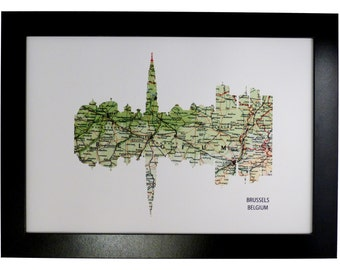 Brussels City Belgium Skyline Print with vintage map