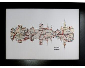 Munich City Germany Skyline Print with vintage map