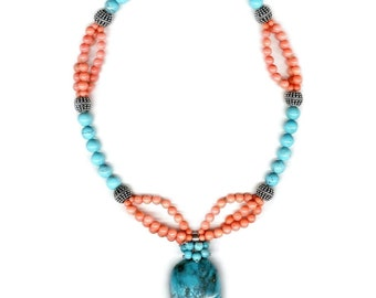 Sale: The Avalon Necklace Turquoise and Coral Sterling Silver