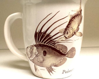 Coffee Mug Cup fish Barbier and Doree Poisson Fornasetti  Stoneware Kiln Fired Victorian Selected Second Hand Made