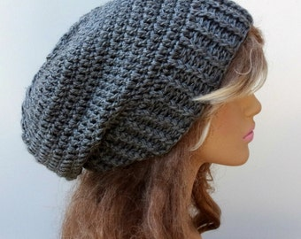 Oxford gray slouchy beanie Silk wool cashmere Smooth baggy crochet Hat soft smooth, grey woman slouchy beanie hat