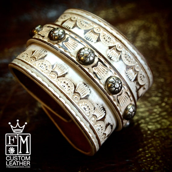 Leather cuff Custom tooled white washed and studded  bracelet!  Vintage look Cowboy Rock made for YOU in NYC by Freddie Matara