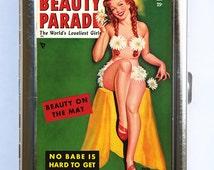 Pin up pinup Flower Bikini Cigarette Case Wallet Business Card Holder retro rockabilly