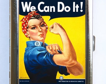 Rosie the Riveter Cigarette Case Wallet Business Card Holder Americana WWII