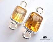 4 pcs 7mm Citrine Yellow Gemstone Sterling Silver Bezel Rectangle Connector F625S