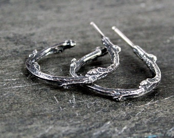 Elvish Sterling Silver Twig Hoop Earrings- Black Patina or Frosted Sterling Twig Jewelry
