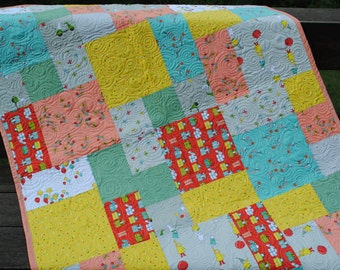 ON SALE Handmade Patchwork Baby Quilt or Toddler Quilt ... pattern also for sale.