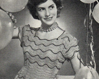 Pretty Lace Jumper for Parties 1940s ladies Vintage Knitting Pattern Pdf