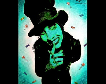 "Print 8x10"" - Marilyn Manson - Top Hat Pop Art Spooky Halloween Monster Creature Heavy Metal Industrial Candy Satan Gothic Devil Horror"