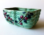 Vintage Planter, rectangular dish, teal plum and green, 1940s, Fruit and leaves, V0139