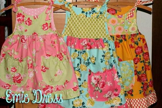 The Emie Dress Instant Download PDF Pattern DIY Tutorial Girls Toddler Size 1-6 Little Bird Lane EASY