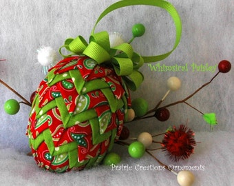 """Quilted Fabric Pinecone  Paisley Red & Lime Green Pattern and Kit - """"Whimsical Paisley"""""""