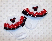 Minnie Mouse Applique Red Dot and Black Dot Double Ruffle Ribbon Socks