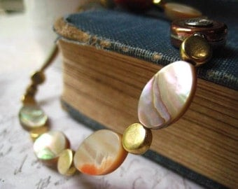 Abalone Shell Bracelet, Abalone Shell, Ornate Bead, Sterling SIlver, Copper Bead, Brass Beads, candies64