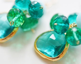 Sea Green and Teal Quartz Clusters, Aqua Glass Gold Bevel, 14K Gold Fill French Ear Wire Earrings, Cabo