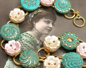 "50s Glass BUTTON bracelet, Aqua, pink, cream flowers on gold. 8.25"" vintage button jewellery."