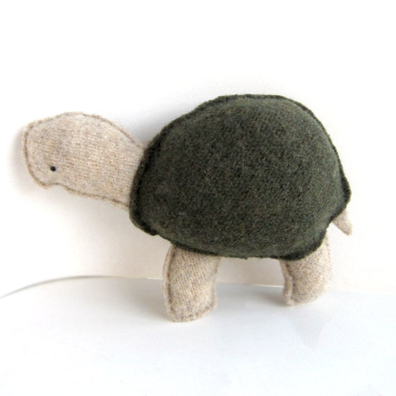 Olive Green Tortoise - Recycled Wool Sweater Plush Toy