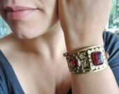 Tribal Infusion Cuff, Mystical Oxblood Cuff, Vintage Handmade Alpaca Kuchi Bracelet
