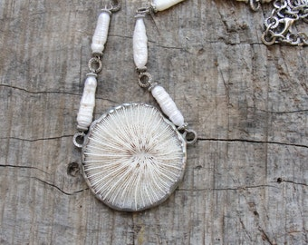 Mushroom Coral Necklace - Coral and Pearl Necklace Sea Treasure Collection