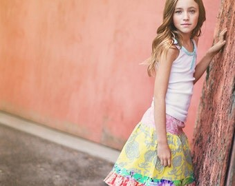 Toddler Girl Skirt - baby outfit- Girl Clothes- Kids Clothes- Girl Toddler Clothes- girl spring outfit- yellow-pink-mint- boho kids clothes