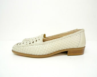 Ipanema woven loafers .  white leather . size 6.5M