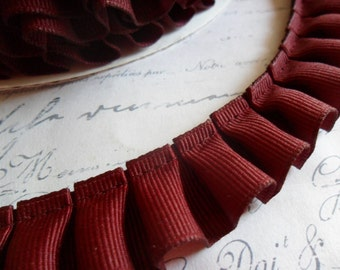 Bordeaux Grosgrain Box Pleat  Ruffle 7/8 wide ribbon trim