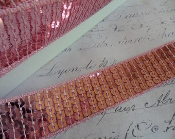 One Inch Wide Pretty in Pink Sequin Ribbon Trim