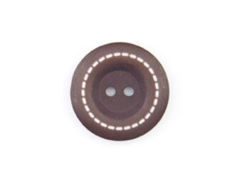 Stitched BUTTONS - 1 Inch Round - Brown