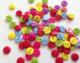 Plastic BUTTONS - 1/4 Inch - Skittles