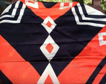 Vintage Geometric Scarf 1970s Orange Black White epsteam. Mod Sale