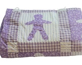 Lavender & White Child's Quilt - Baby Doll Quilt - Purple - Crib Quilt