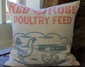 Vintage Feedsack Pillow Cover - Red Rose Chicken Feed  - Red White Blue - Chick - Farm Pillow Cover