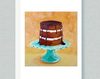 CARD - Greeting card, notecard, note cards, cake stand, chocolate cake, dessert plate, dessert stand, food art, food cards