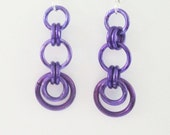 Purple Crescent Chainmaille Earrings Handmade