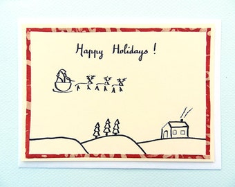 The Night Before Christmas / La veille de Noel - hand-drawn card by Pauline Rousseau - made in France