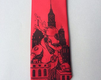 RED Necktie - Giant Robot Tie - Men's Robot Necktie