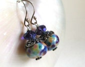 Purple Lampwork Earrings, Artisan Lampwork, Long Purple Earrings, Art Glass Earrings, Colorful Glass Bead Earrings with Bali Sterling, Darcy
