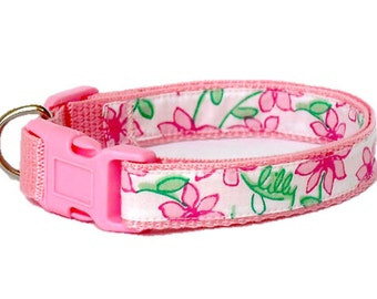 Dog Collar Made from Lilly Pulitzer Pink Daisy Fabric Size: Your Choice