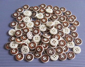 115 Faux Rosewood Detail Buttons Lot - 14mm vintage hole buttons with cream beige base and faux wood texture