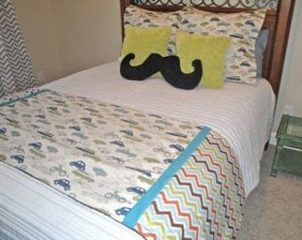 Boys Twin/Full Bedding, Bed Runner Punch Bug/Cars Set, boys bedding, children's bedding, retro bedding