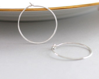 Silver Hoop Earrings, Recycled Sterling Silver Hoops, Modern Minimalist Hoops, 1 Inch Hoops