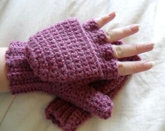 Warm Wool Crocheted Deep Rose Heather Convertible Fingerless Mittens/Gloves - Pink