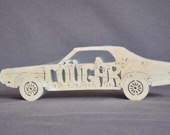 Vintage Mercury Cougar Car Toy Wooden Hand Cut Puzzle