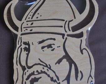 Viking Mascot  Scrolled Wooden Wall Hanging Wall Art USA