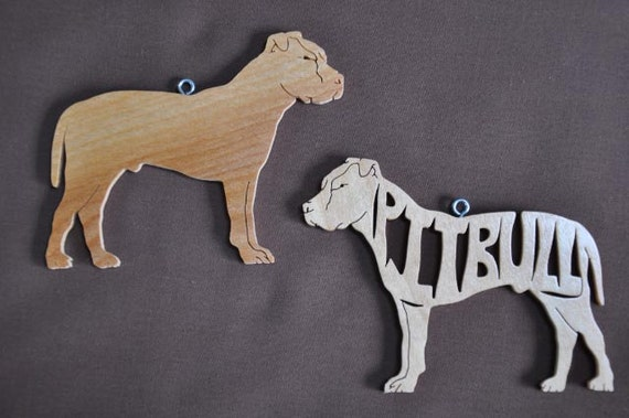 Pair of Pitbull Pit Bull Terrier Dog Wooden Decoration Ornament Wood Cut Out