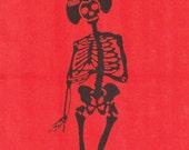 Skeletal Maiko Motif Tenugui Japanese Fabric w/Free Insured Shipping
