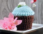 Cupcake Pincushion, Pincushion, Crocheted Cupcake Aqua