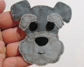 Schnauzer Applique, Schnauzer Patch, Dog Applique, Dog, Schnauzer Dog Embellishment, Fabric Applique, Made To Order